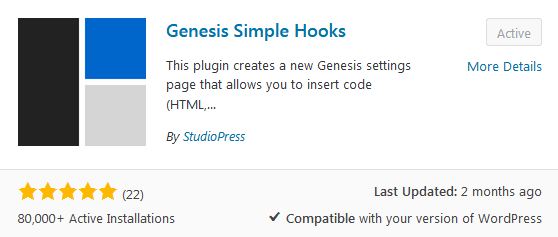 Genesis Simple Hooks plugin download that can be used to edit the WordPress header