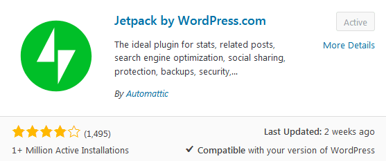 Jetpack plugin download that can be used to edit the WordPress header