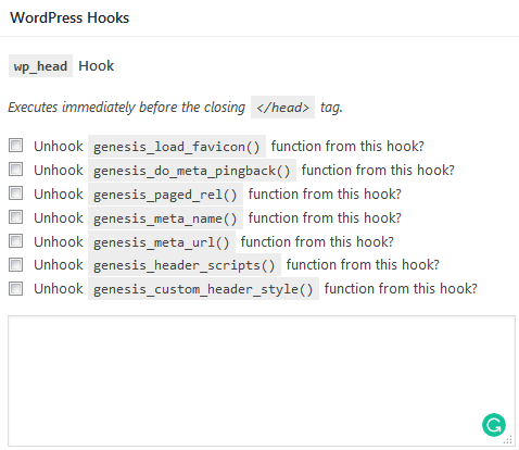 Genesis Simple Hooks screen for editing the WordPress header