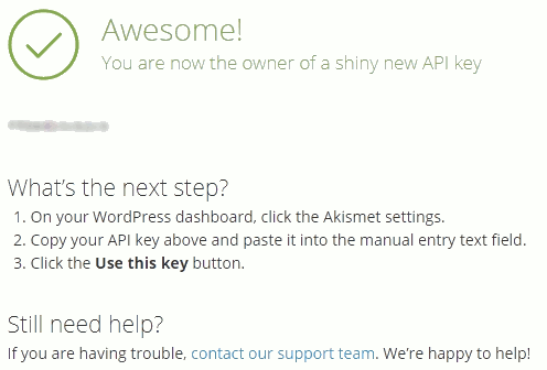 Jetpack Plugin Akismet API Key generated and next steps to take