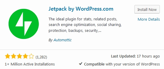 Jetpack Plugin Install-Screen in WordPress