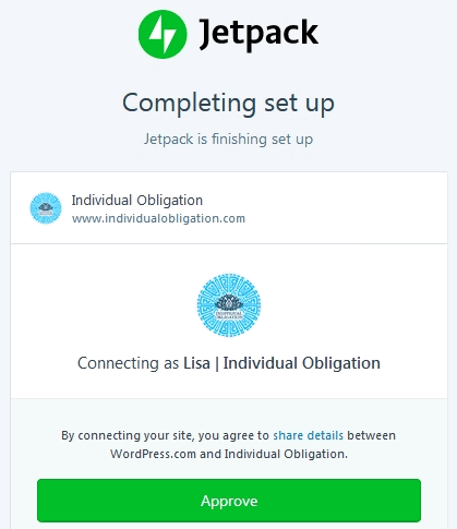 Jetpack Plugin Completing set up screen with connecting as Individual Obligation WordPress account