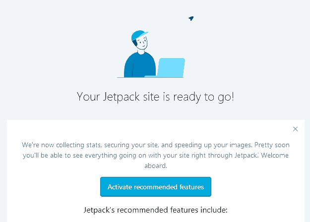 Jetpack Plugin Install Complete screen with activate recommended features button