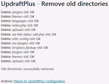 Updraftplus restore wordpress from backup removal of old directories completion summary