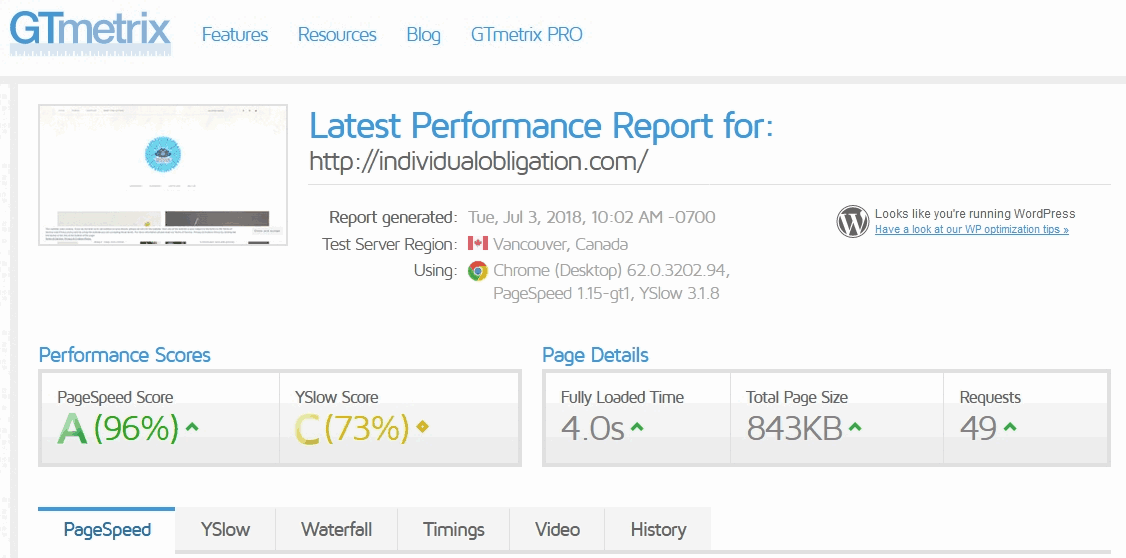The website speed test tool gtmetrix's results summary