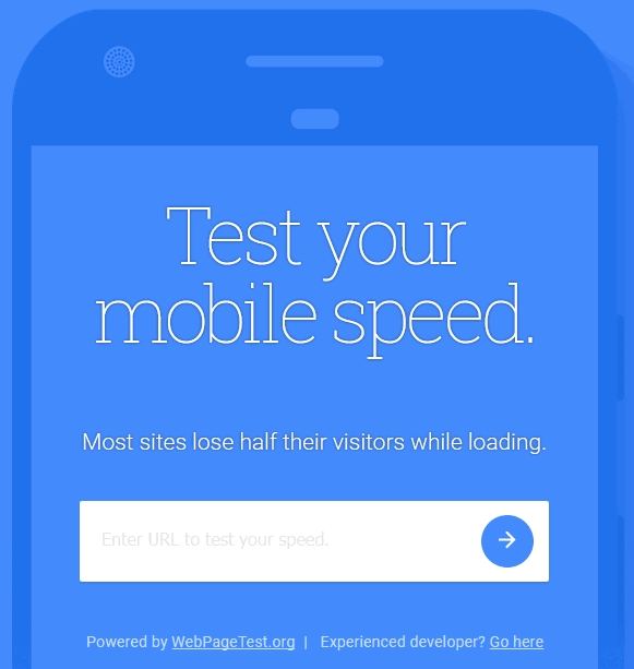The website speed test tool - think with google mobile speed test user-interface