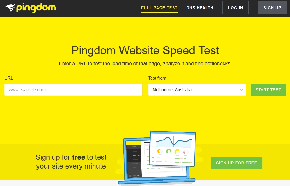 The website speed test tool pingdom's main user interface