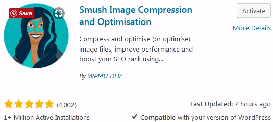 WordPress image compression using Smush Pro's plugin