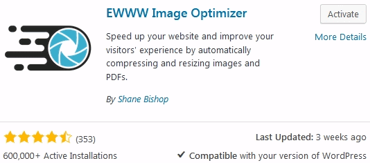 WordPress image compression using EWWW image optimizer plugin