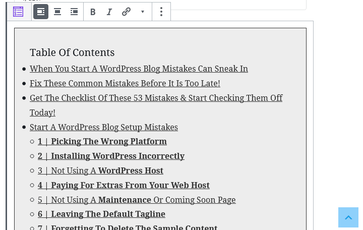 Example Of The WordPress Table Of Content Scroll To Top Button