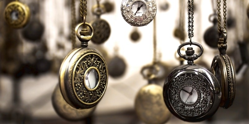 Gifts For Bloggers To Have More Time Header Image Of Dozens Of Hanging Pocket Watches