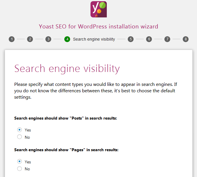 How To Use Yoast Seo Through The Wizard To Set The Setting For Search Engine Visibility