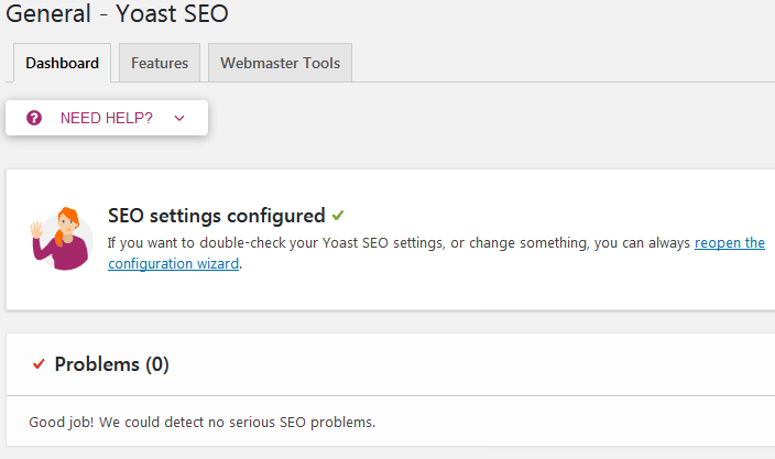 The General Yoast Seo Settings Screen