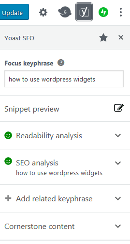 What The Yoast Seo Widget Looks Like Within The WordPress Gutenberg Editor