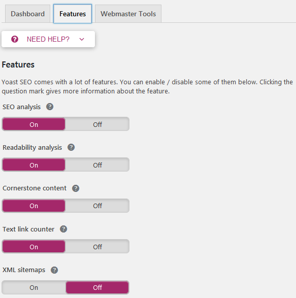 Yoast Seo Settings To Adjust The Enabled Features Used