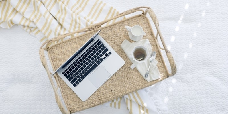 Work From Home Blogging Laptop To Doing Blog Tasks From The Comfort Of Your Bed