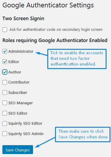 Wordpress Two Factor Authentication Google Authenticator Plugin Settings Screen To Enable For User Roles