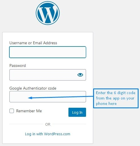 Where To Enter The WordPress Two Factor Authentication Code From The Google Authenticator To Login