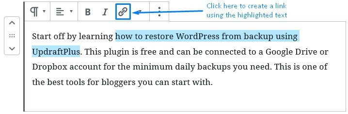 Wordpress Gutenberg Create An Internal Link Using Highlighted Text