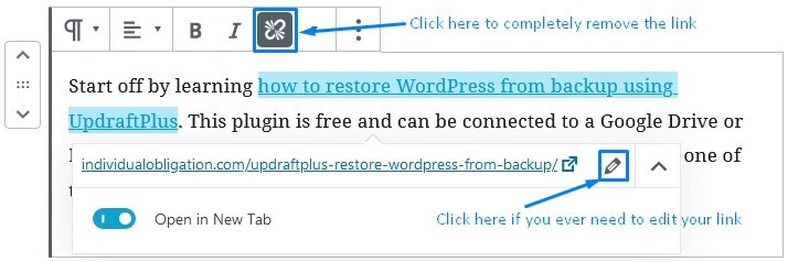 Wordpress Gutenberg Options To Remove Links Or Edit Them
