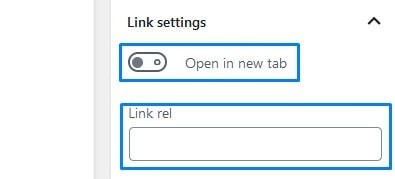 Wordpress Link Settings For Button Blocks