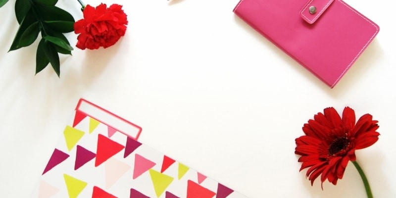 Blogging Stationary Red Flowers And Pink Phone Case