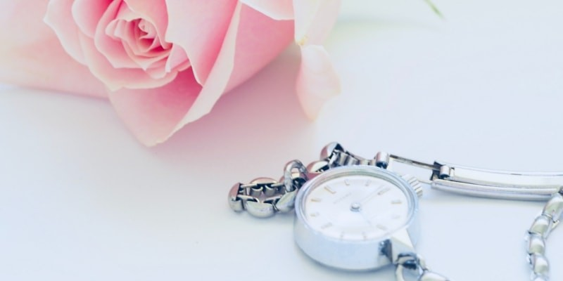 Pink Rose And Silver Pocket Watch