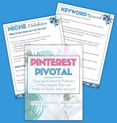 Pinterest Pivotal Worksheets Cheatsheet For Niches Keywords And How To Start A Business Account Mockup Blue Bg