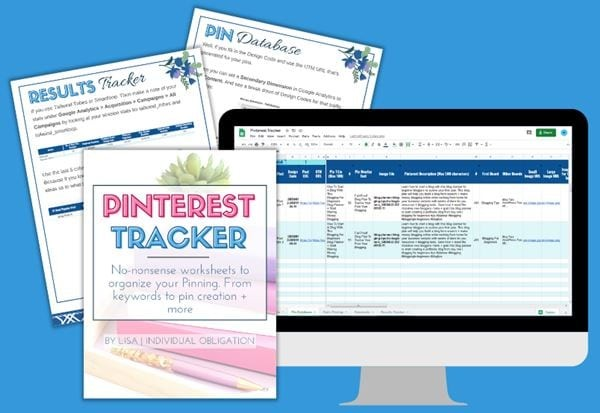 Pinterest Tracker Google Sheets Worksheet For Keywords Pin Datebase Mockup White Bg