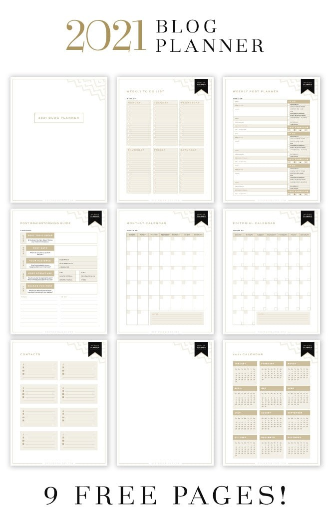 Designer Blogs 2021 Blog Planner All Free Pages