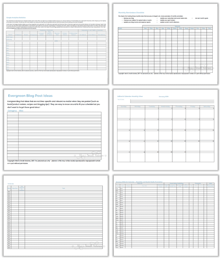Moms Small Victories Best Blog Planner Printable For Blog Organization Planning